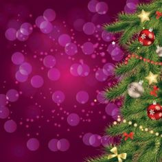 Free vector illustration of Christmas Star flake Pattern balls in tree fir on…