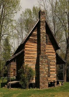 old log cabin with. morning and evening  porch. db
