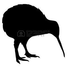 bird tattoo design: Illustration in style of black silhouette of kiwi Bird Stencil, Stencil Art, Flower Stencils, Animal Silhouette, Black Silhouette, Free Bird Tattoo, Kiwi Bird, New Zealand Landscape, Bird Coloring Pages
