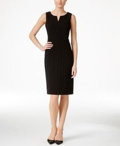 Calvin Klein Petite Sleeveless Split-Neck Sheath Dress $89.99 Sleek and sophisticated style is yours in this must-have sheath from Calvin Klein.