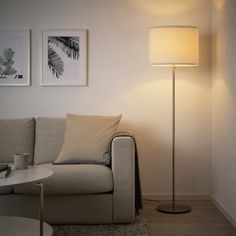 RINGSTA / SKAFTET Floor lamp with LED bulb, white, nickel plated. Easy to take home since the lampshade comes in a flat-pack. Floor Lamp Base, White Floor Lamp, Modern Floor Lamps, Ikea Floor Lamp, Corner Floor Lamp, Lamp Shade Frame, Clear Light Bulbs, Ikea Family, Standard Lamps