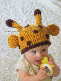 Giraffe Hat, Crochet, Animal Hat, Hannahs Homestead2