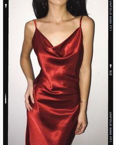 marsala wine cowl neck silk dress is part of Silk prom dress - Grunge Fashion, 90s Fashion, Fashion Dresses, Fashion Trends, Slep Dress, Red Silk Dress, Silk Skirt, Slip Dress Silk, Long Red Satin Dress