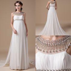 2016 Empire Maternity Wedding Dresses Real Photos Reception Chiffon Bridal Gowns For Pregnant Women Crystals Elegant Bride Dress