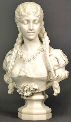 A carrara marble bust of a young woman with her hair plaited ~ One braid over one shoulder and the other braid over the other shoulder ~ By G. Andreoni ~ Italy ~ circa 1801-1900