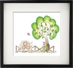 Fuzzy Little Lamb and Dragonfly- Nursery Illustration
