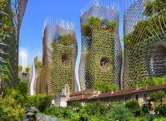 EcoNotas.com: Proyecto Futurista en Paris, Ciudades Inteligentes, Edificios Verdes, Torres Nido de Bambu y Nido de Abeja