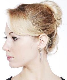 Riya silver earrings | Edge of Ember | Polished silver spiked drop earrings