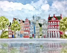 """Amsterdam in summer, original watercolor with pen and ink, 11x14"""""""