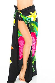 Sarong Hand Painted Hibiscus Black >>> Find out more about the great product at the image link. (This is an affiliate link) #WomensSwimmingSuits