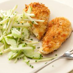 Crispy chicken cutlets with fresh-flavored apple and celery salad. #recipes