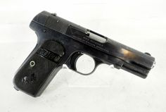 "Colt 1903 Pocket Model M Type III .32 ACP 3.75"". The Colt Model 1903 Pocket Hammerless is .32 ACP caliber, self-loading, semi-automatic pistol designed by John Browning and built by Colt Patent Firearms Manufacturing Company of Hartford, Connecticut. Produced from 1903-1945, this one's serial # of 217XXX should indicate manufacture in 1916. 3.75"" barrel, charcoal blue finish, checkered hard rubber grips, internal hammer, slide lock and grip safety. $519.00"