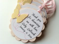 20 Blush and Gold Butterfly Scallop Tag.  Personalized Favor Tags for Baby or Bridal Shower, Birthday, Baptism or Wedding.