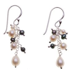 White and Grey Pearl Single Drop Earrings ($37) ❤ liked on Polyvore