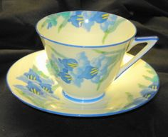 Royal Doulton Hand Painted Gladiola Blue Cream Art Deco Tea Cup and Saucer | eBay