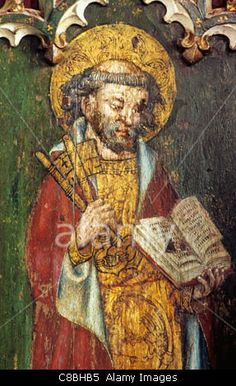 Filby, Norfolk, rood screen, St. Peter with the keys to heaven and book, male saint saints English medieval screens painting Stock Photo