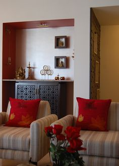 contemporary, minimalist and simple deity space (mandir area) created for Subodh's fabindia home. #indianhomedecorideas