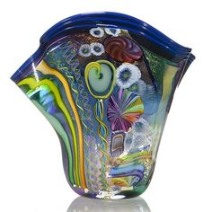Large and impressive James Nowak free form aquarium vase with iridized dichoric glass