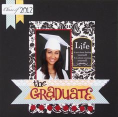 Unique Graduation Scrapbook Pages Collection School Scrapbook Layouts, Kids Scrapbook, Scrapbook Sketches, Scrapbook Albums, Scrapbooking Layouts, Scrapbook Cards, Graduation Album, Graduation Scrapbook, Graduation Ideas