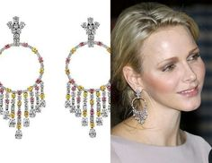 Princess Charlene's white, yellow and pink diamond Gypsy earrings, by Graff.