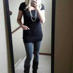 """Long black top with pockets Well made. Good condition. 27"""" long. 14.5"""" bust. Stretchy. INC International Concepts Tops"""