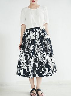La Chic Parisienne black and white floral long by PurpleFishBowl