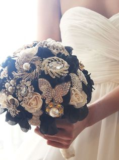 Black and Ivory Flower Brooch Bouquet, Bridal Bouquet, Bridesmaids Bouquet, Wedding Brooch, Wedding Brooch Bouquet, Gatsby Wedding, WBQ5 by AMYOBridal on Etsy https://www.etsy.com/listing/165279937/black-and-ivory-flower-brooch-bouquet