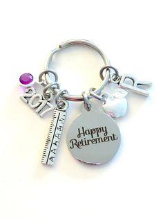 Teacher Retirement Gift Keychain, 2017 2018 Principal Teach Secretary Apple Key chain Keyring Retire birthstone Initial letter for her women by aJoyfulSurprise on Etsy