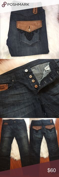 MENS Antik denim W34 Antik Demin • Waist 34, Inseam approx 33 • 100% Cotton •Booutcut/Straight-leg style  These jeans feature leather pocket details one on the front and two on the back. 5 pocket style, 4 button zip and two button back pockets. Brightened by some fading and natural wear points. Nice thick well constructed quality denim. Worn bey minimally, feel like new. Never washed.   -open to negotiating -bundle and save with my discount Antik Denim  Jeans Straight