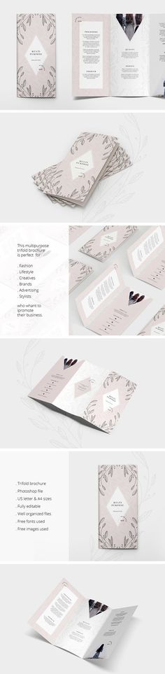 Multipurpose Trifold Flyer by AgataCreate on @creativemarket Printing brochure template with one of the best creative design and great cover, perfect for modern corporate appearance for business companies. This layout is modern, simple and feminine; have a good inspiration or grab some ideas.