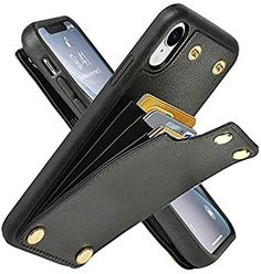 LAMEEKU Wallet Case for iPhone XR, Leather Credit Card Holder Case with Card Slot Money Pocket, Shockproof Protective Bumper Phone Cover Compatible with iPhone XR - Red Leather Card Wallet, Leather Phone Case, Cute Wallets, Leather Projects, Leather Crafts, Minimalist Wallet, Leather Bags Handmade, Iphone Wallet Case, Leather Accessories