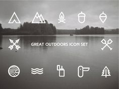 The Great Outdoors Icon Set Web Design, Icon Design, Logo Design, Graphic Design, Design Layouts, Bullet Journal Layout, Branding, Icon Set, The Great Outdoors