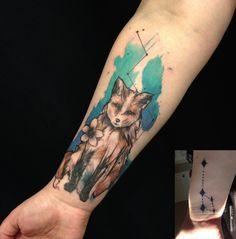 Gorgeous fox tattoo coverup by Lu at Dreamworx Ink, Woodbridge, ON