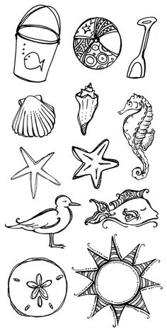 This makes me smile love the creativity · travel drawing beach Doodle Drawings, Doodle Art, Tattoo Main, Travel Drawing, Painting & Drawing, Ocean Drawing, Beach Drawing, Art Lessons, Coloring Pages