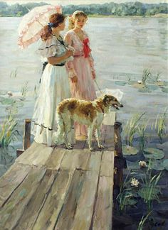 On the small bridge - Vladimir Gusev Victorian portrait with Borzois Art Vintage, Art Et Illustration, Paintings I Love, Russian Art, Beautiful Paintings, Oeuvre D'art, Love Art, Female Art, Painting & Drawing