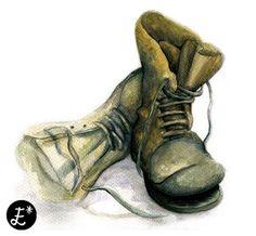 Boots. Watercolor. ESTRELLA A.C Illustration www.facebook.com/estrellaacdesign