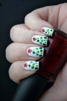 """Christmas Trees"" Nails 