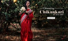 New Collection arrived!  Elegant Chikankari Silk Sarees at 45% off!