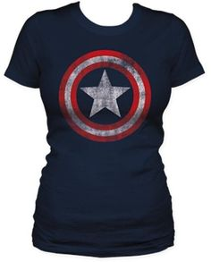 Captain America Star Distressed Logo Juniors T-shirt