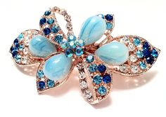 Bow and Flower Design Hair Accessory Hair Barrette StyleBlue color with Jade accent and rhinestone -- Find out more about the great product at the image link.