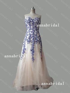 Sweetheart A-line Prom Dresses Champagne Tulle with by Annabridal