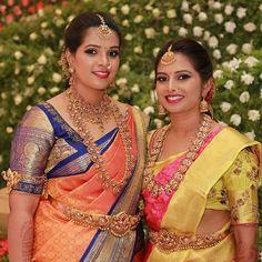 Image may contain: 2 people, people standing and closeup Bridal Silk Saree, Saree Wedding, Wedding Gold, Bridal Lehenga, Trendy Wedding, Wedding Bells, Wedding Events, Pattu Saree Blouse Designs, Bridal Blouse Designs