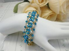 Swarovski crystal and pearl bracelet by Carnationbeads on Etsy, $35.00