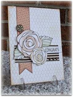 Card created by Tamytha Jenkins of www.paperheartist.com  Uses Close To My Heart Buzz and Bumble paper and CTMH Love Blooms and Distressed Background stamps.