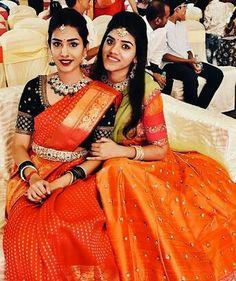 Blouse Designs Silk, Saree Blouse Patterns, Bridal Blouse Designs, Dress Designs, Traditional Blouse Designs, Traditional Outfits, Traditional Sarees, Party Looks, Bridal Silk Saree