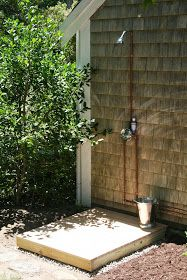 Our first summer vacation project at Old Farm was installing an outdoor shower. I decided it would be placed on a side corner of the ...