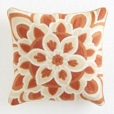 I stupid love this pillow.   I can't resist crewel work.  W7543Indian Floral Pillow - Orange Pillows & Cushions