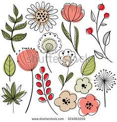 Find Flower Graphic Design Vector Set Floral stock images in HD and millions of other royalty-free stock photos, illustrations and vectors in the Shutterstock collection. Art Floral, Flower Images, Flower Art, Doodle Art, Watercolor Flowers, Watercolor Art, Flower Graphic Design, Hand Drawn Flowers, Flower Doodles