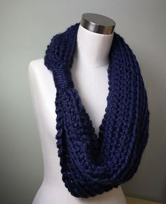 Navy Blue Scarf / Crochet Scarf / Hygge / Navy Scarf / Navy