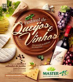 Master - Queijos e Vinhos on Behance Web Design, Food Design, Flyer Design, Layout Design, Print Design, Food Advertising, Creative Advertising, Advertising Design, Ads Creative